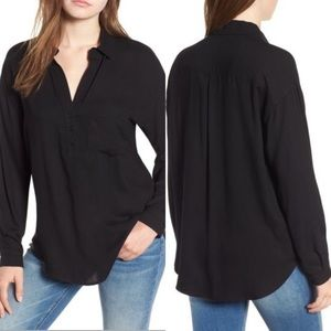 Lush Slouchy Pocket Henley Top